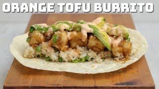 Vegan Orange Tofu Burritos with Fried Rice and Coconut Sriracha Sauce (vegan Panda Express)