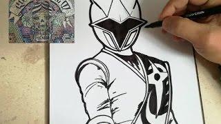 HOW TO DRAW POWER RANGER - NINJA STEEL BLUE / como dibujar Power ranger ninja steel azul