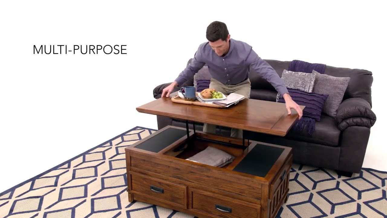 Cross Island Lift Top Cocktail Table From Ashley Youtube