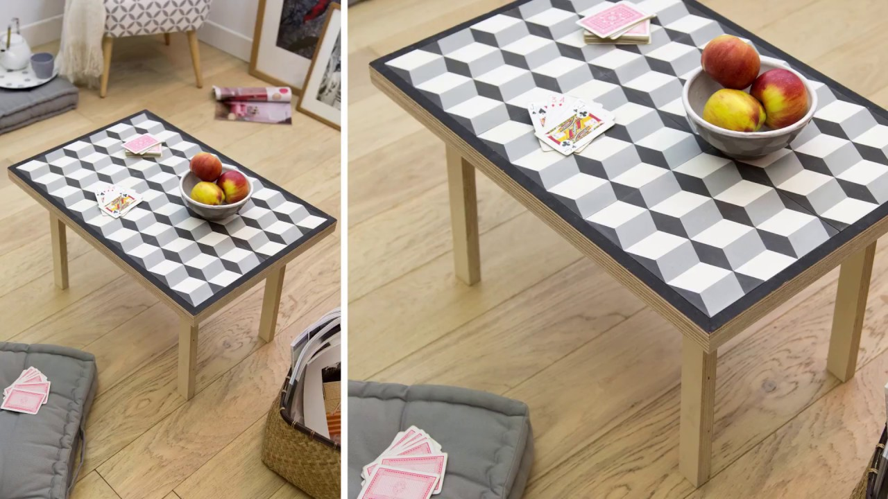 La table carreau ciment diy youtube for Table basse style usine