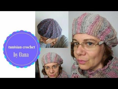 Tunisian Crochet French Beret by Oana