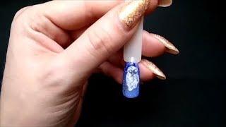 Простой рисунок на ногтях гель красками. Сова