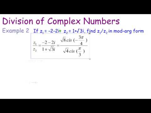 Complex Number Division Polar Form - YouTube