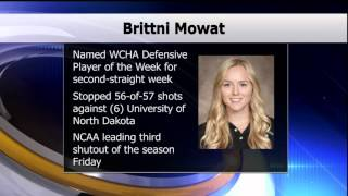 Brittni Mowat Named WCHA Defensive Player of the Week - Lakeland News Sports - October 20, 2015