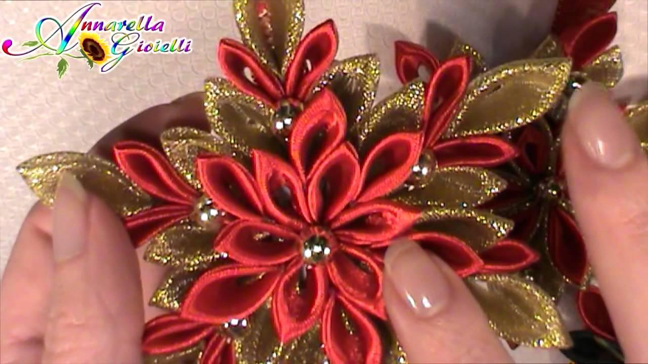 Fiori Kanzashi Tutorial.Update Creazioni Dic 2014 Kanzashi Di Natale Fiori Di Stoffa