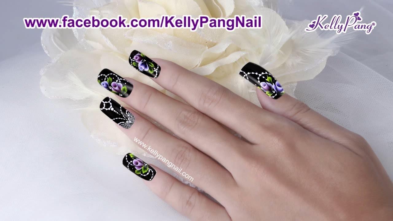 Học nail - Vẽ cọ bản Hoa hồng kiêu sa | KellyPang Nail - YouTube