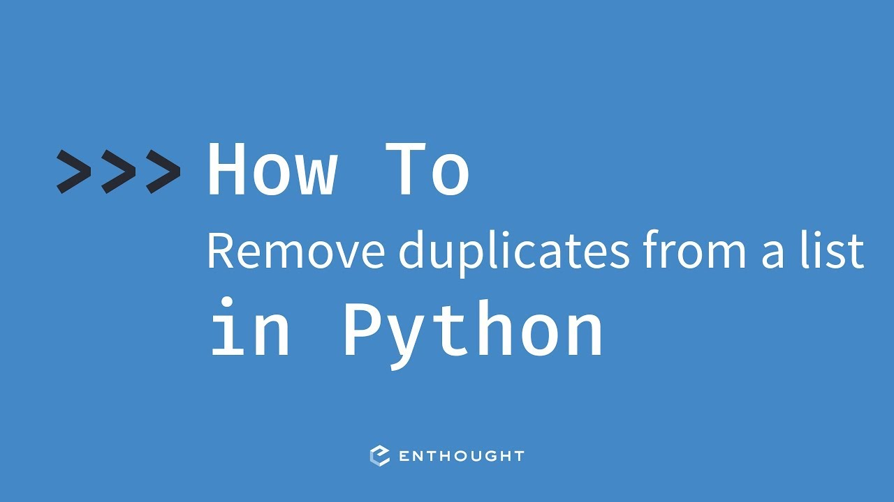 How to remove duplicate items from a list in Python