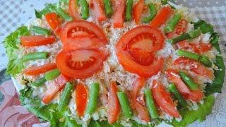 Очень вкусный салат с консервированной форелью.
