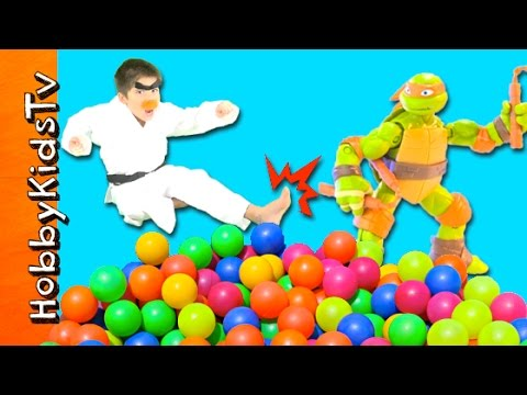 Ninja Turtles Surprise Ball Pit! HobbyKarate Family Fun TMNT Toys Reviews HobbyKidsTV