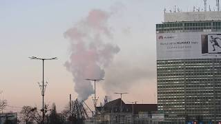 Elektrociepłownia Gdańsk- intensywna para wodna przy minusowej temperaturze powietrza