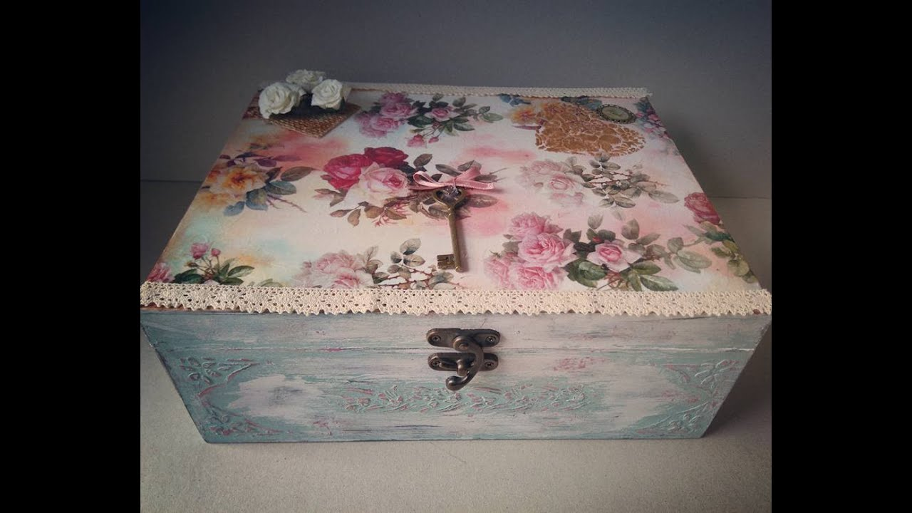 How To Decor A Vintage Wooden Box With Decoupage And Chalk Paint Mesmerizing Decorating Wooden Boxes