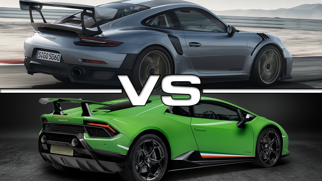 2018 porsche 911 gt2 rs vs 2018 lamborghini huracan. Black Bedroom Furniture Sets. Home Design Ideas