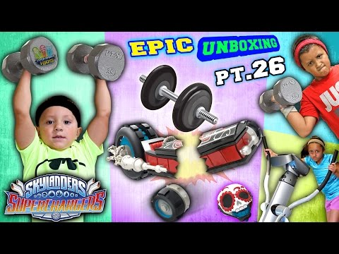 SKYLANDER KIDS WORK OUT!  Gym Weights Crush Crypt Crusher! OUCH (Superchargers Epic Unboxing pt. 26)