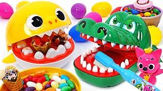 Baby Sharks and Crocodiles brush their Teeth ~ Pinkfong! Defeat the Cavities !! | Pinky PopTOY