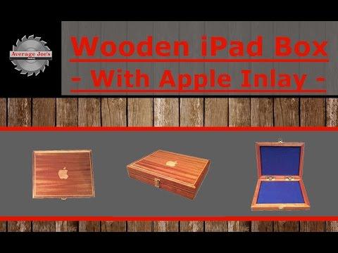 Wooden iPad Box with Apple Inlay