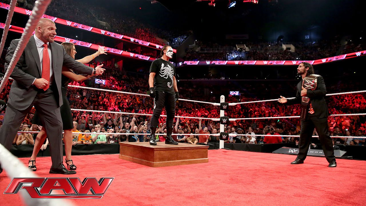 Sting ambushes Triple H and Seth Rollins: Raw, Aug. 24, 2015 #1