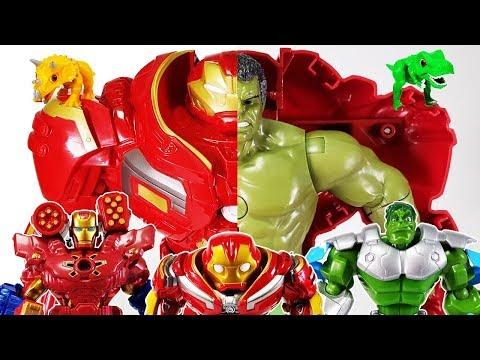 Avengers Infinity war Hulkbuster, Iron man, Dino Mecard vs Thanos Gauntlet Toys Play