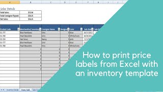 How To Print Price Labels From Excel-with Inventory Template