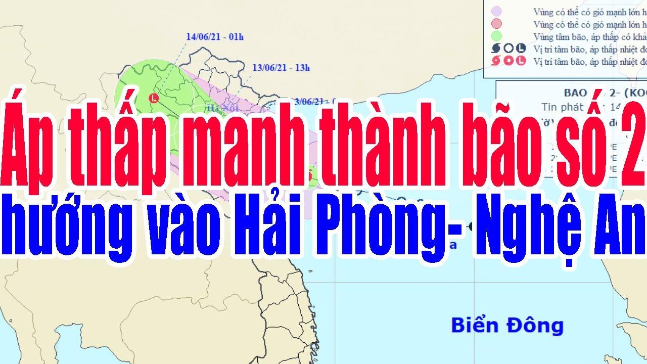 @Tin Thời Tiết :Áp thấp nhiệt đới mạnh thành bão số 2 hướng vào Hải Phòng đến Nghệ An