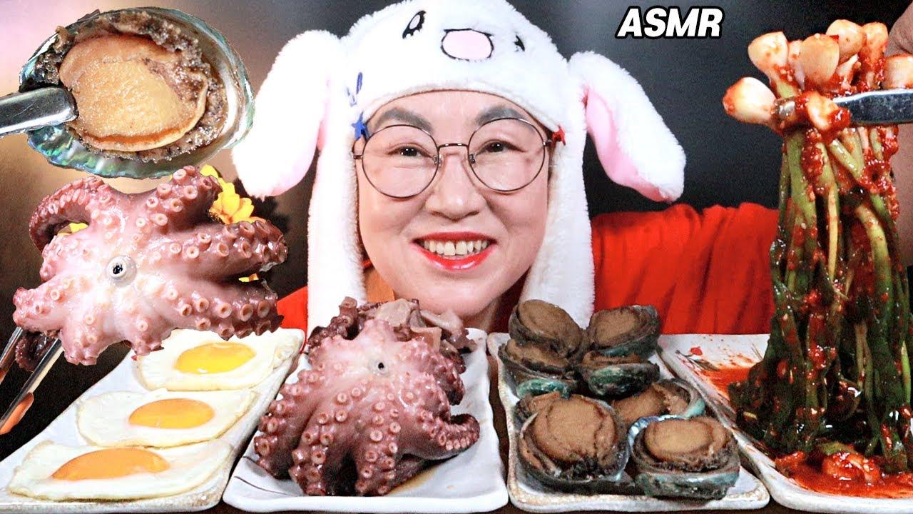ASMR MUKBANG 문어장, 전복장, 계란후라이, 파김치 먹방 ABALONE, OCTOPUS, GREEN ONION KIMCHI, FRIED EGG EATING SOUNDS