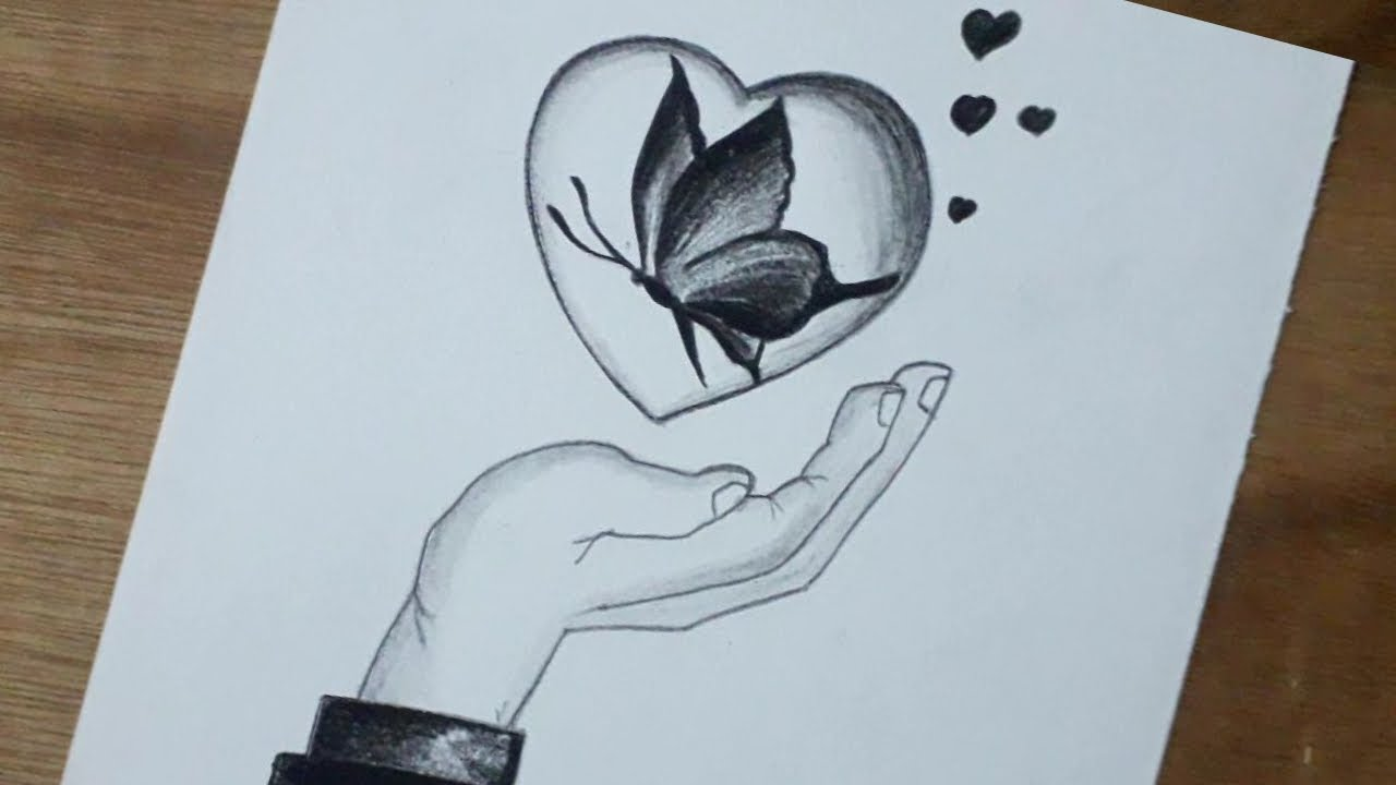 Pencil Drawing Of Beautiful Butterfly Inside Love Butterfly Drawing Youtube