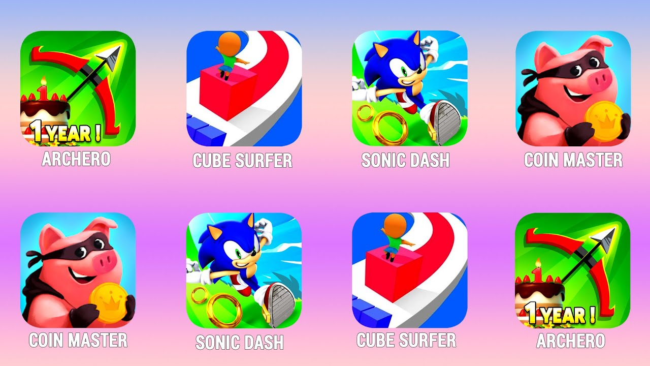 ARCHERO, Cube Surfer, Sonic Dash, Coin Master, Walkthrough (iOs, Android) | Power of Gameplay
