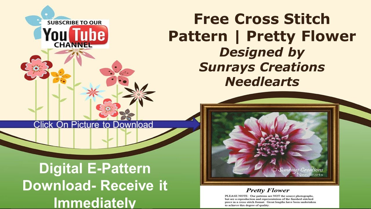 Free Cross Stitch Patterns to Download | Pretty Flower Design - YouTube