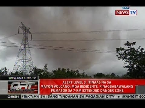 QRT: Alert level 3, itinaas na sa Mayon Volcano