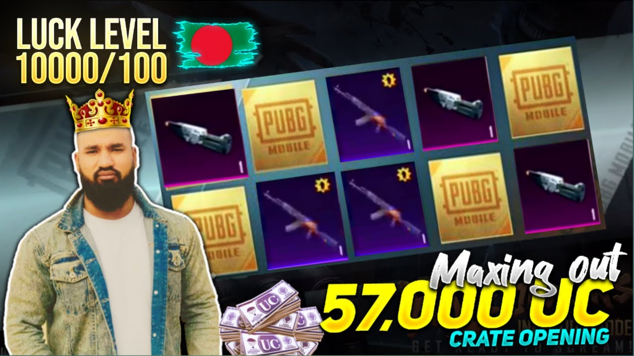 LUCK LEVEL 10000/100 PUBG Mobile   57,000 UC New AKM Luck Spin And Maxing OUT   HEADSHOT KING 👑