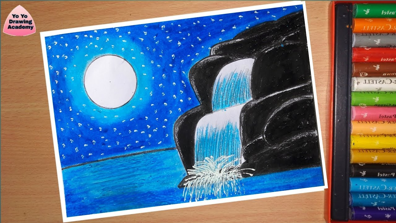 How to draw Moonlight Waterfall Scenery with Oil Pastels ...