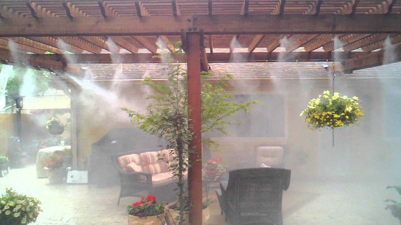 Mist Cooling System : Outdoor cooling misting system youtube