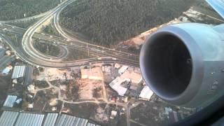 Yolcu uçağı kalkış anı ve jet motorunun maksimum gücü