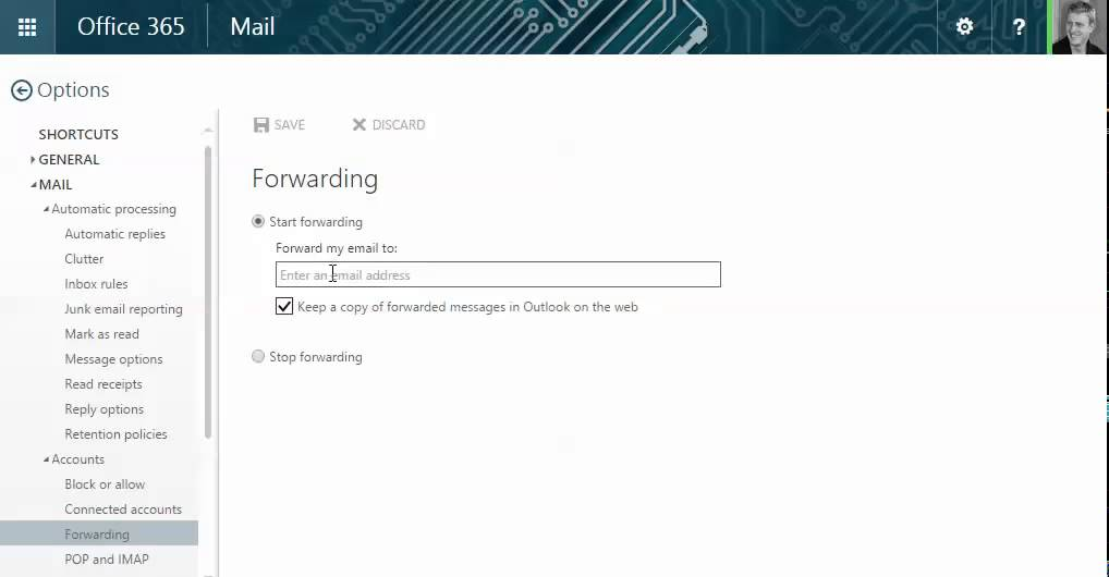 Setup email forwarding in outlook for office 365 youtube - Email settings for office 365 ...
