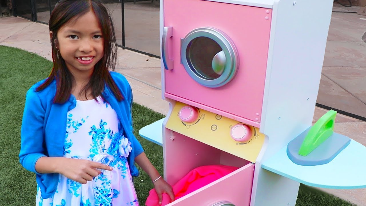 Wendy Pretend Play With Giant Washing Machine Toy Youtube