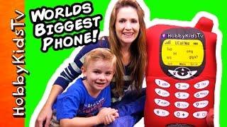 Worlds BIGGEST CELL PHONE Surprise! Toys, Old Phones + HobbyBaby Toys HobbyKidsTV