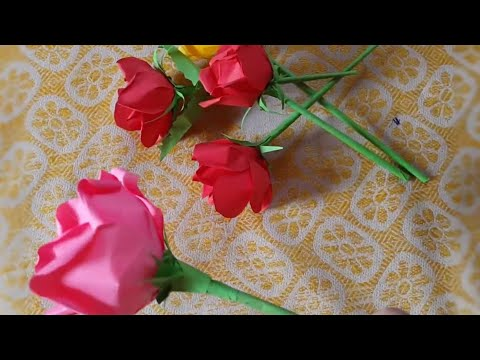DIY PAPER ROSE, PAPER FLOWER, DIY CRAFT, HOW TO MAKE FLOWER WITH CRAFT PAPER,  YELLOW ORANGE