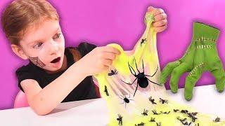СЛАЙМ Семейка Аддамс с Светящимися ПАУКАМИ. SLIME The Addams Family with Glowing Spiders
