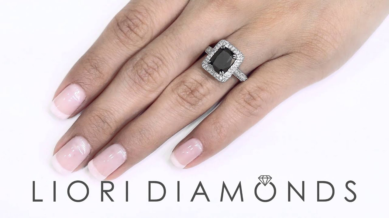 BDR-163 - 4.35 Carat Cushion Cut Black Diamond Engagement Ring 18k ...