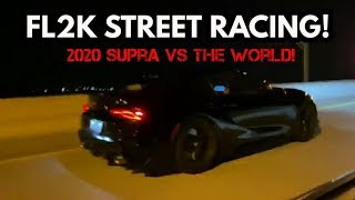 FL2K19 STREET RACING! 2020 TOYOTA SUPRA VS COYOTE MUSTANGS, BOOSTED CORVETTE, BMW Z4, & TONS MORE!