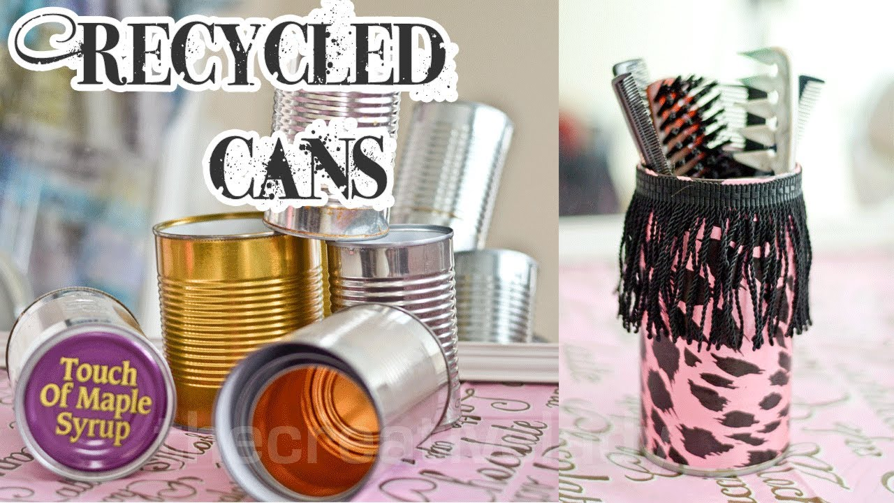 Diy recycled tin can craft mixed media thecreativelady youtube solutioingenieria