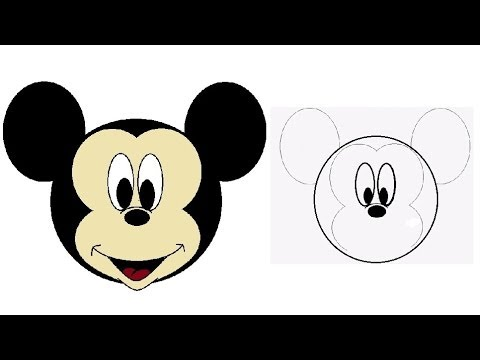 How to draw Mickey Mouse How to draw a cartoon face Kids drawing