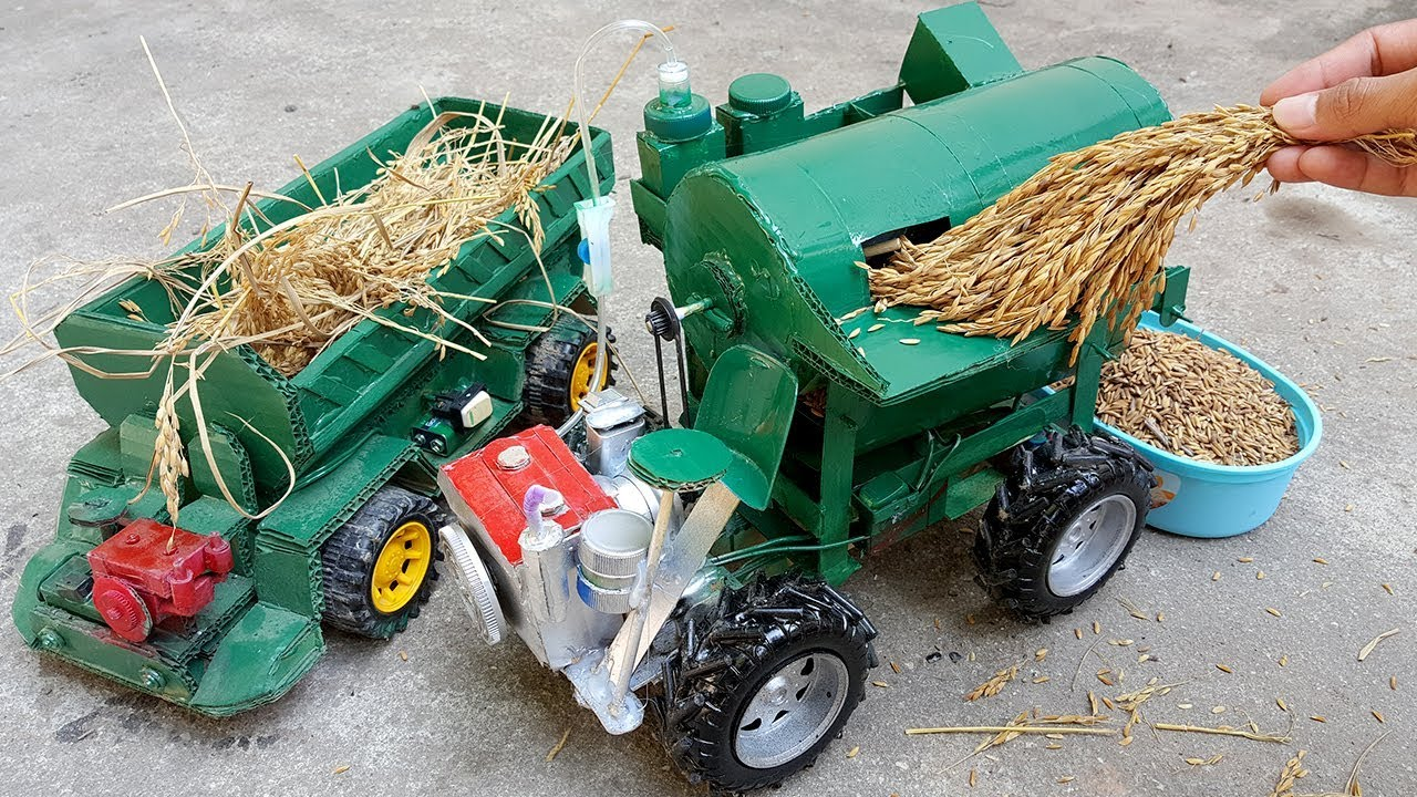 How to make Project Old Rice Thresher Machine Technology Model Update Version  - Beautiful Designing