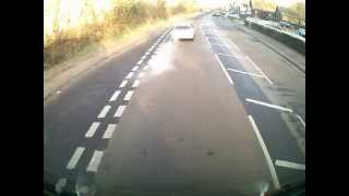 HGV Driver has a close call, The Police were in the right place at the right time for once :-)