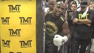 Floyd Mayweather EXTREME POWER On Punch Bag Ahead Of Conor McGregor