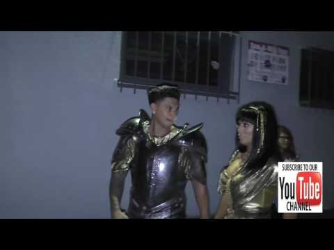 Paul 'Pauly D' DelVecchio and Aubrey O'Day dressed as sexy Romans outside the Just Jared Halloween P