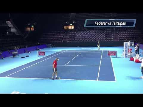 Roger Federer Stefanos Tsitsipas Swiss Indoors Basel 2019 Practice Match フェデラー 練習  バーゼル スイス 2019