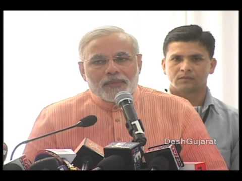 Narendra Modi addresses media persons in Ahmedabad during a new year gathering