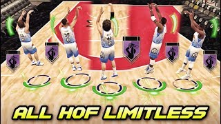 EVERY PLAYER IN THIS SQUAD HAS THE HALL OF FAME LIMITLESS RANGE BADGE IN NBA 2K19 MyTEAM!!