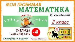 Таблица умножения на 4. Примеры и задачи. Математика 2 класс.