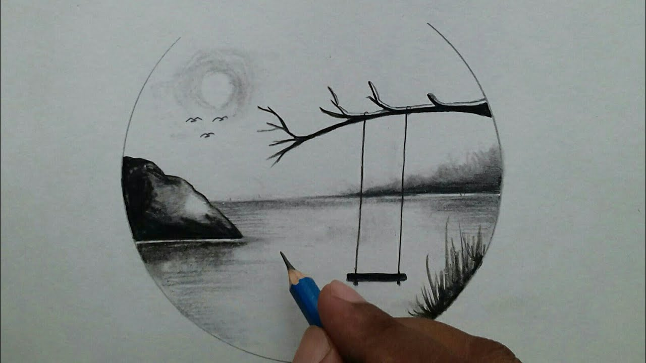 Easy Scenery Drawing Step By Step Pencil Sketch Drawing Youtube